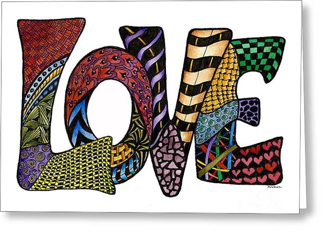 Love Letter Drawings Greeting Cards - Love Design Greeting Card by Nan Wright