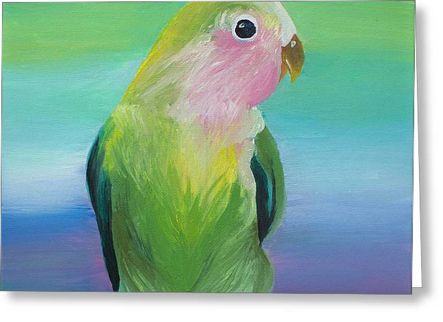 Rosy-faced Lovebird Greeting Cards - Peach-Faced Lovebird Greeting Card by Sasha Ballon
