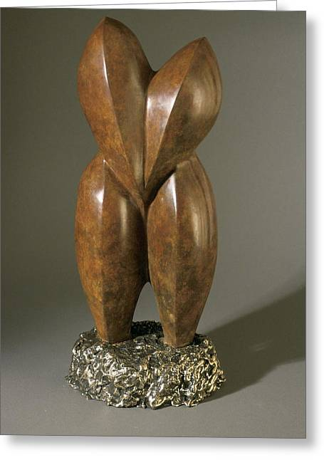 Manuel Abascal Sculptures Greeting Cards - Lovebirds - bronze  Greeting Card by Manuel Abascal