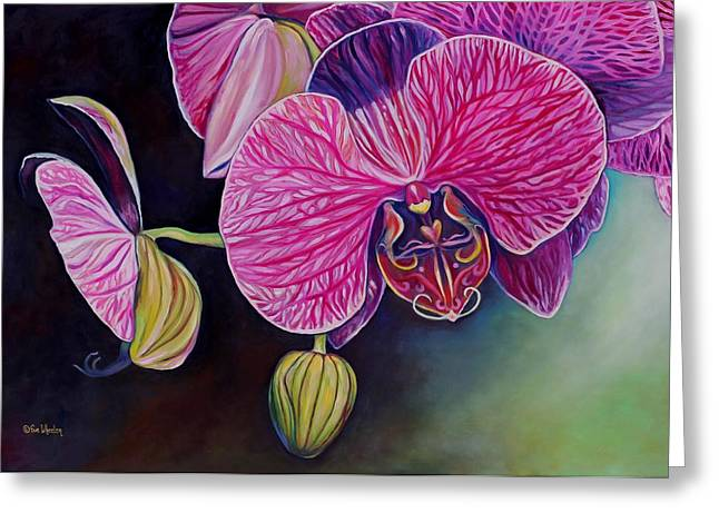 Phalaenopsis Orchid Greeting Cards - Lovebirds Greeting Card by Eve  Wheeler