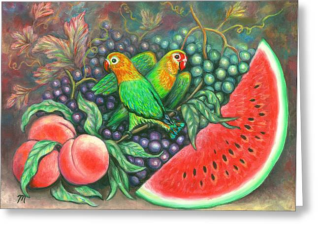 Fruit Greeting Cards - Lovebirds Greeting Card by Linda Mears