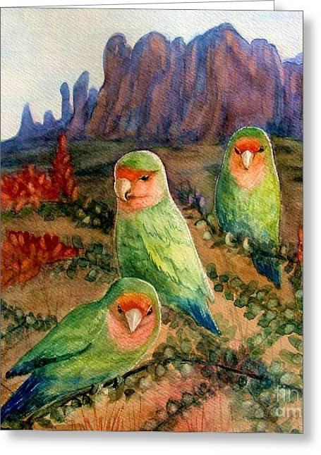 Peach Faced Lovebird Bird Greeting Cards - Lovebirds Greeting Card by Marilyn Smith