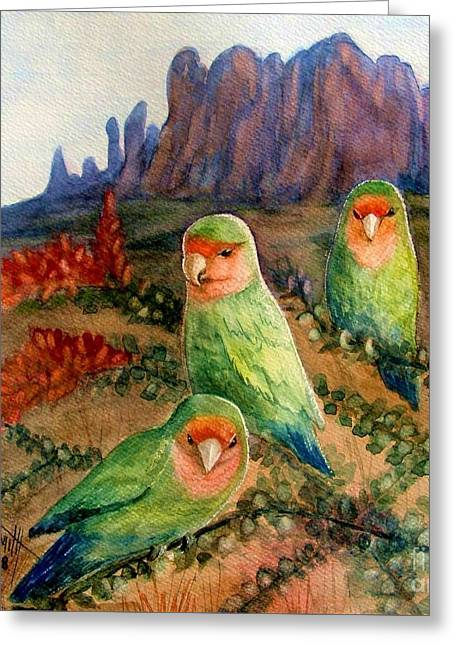 Peach-faced Lovebird Greeting Cards - Lovebirds Greeting Card by Marilyn Smith