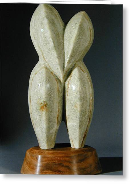 Alabaster Sculptures Greeting Cards - Lovebirds - stone Greeting Card by Manuel Abascal