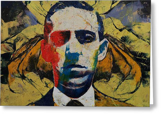 Surrealistic Paintings Greeting Cards - Lovecraft Greeting Card by Michael Creese
