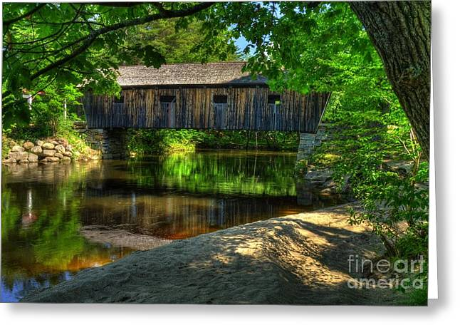 New England Covered Bridges Greeting Cards - Lovejoy Covered Bridge 2 Greeting Card by Mel Steinhauer