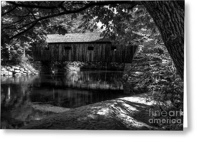 Reflections In River Greeting Cards - Lovejoy Covered Bridge 2bw Greeting Card by Mel Steinhauer