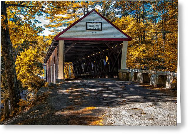 Rural Maine Roads Photographs Greeting Cards - Lovejoy Covered Bridge Greeting Card by Bob Orsillo