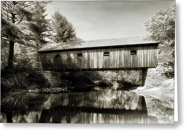 Maine Landscape Greeting Cards - Lovejoy Covered Bridge Maine 1984 Greeting Card by Mountain Dreams