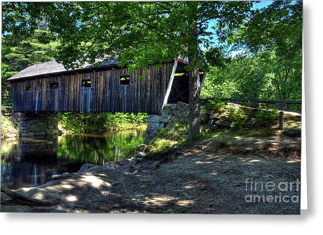 Shade Cover Greeting Cards - Lovejoy Covered Bridge Greeting Card by Mel Steinhauer