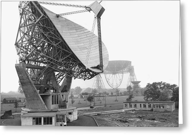 Grade 1 Greeting Cards - Lovell radio telescope, historical image Greeting Card by Science Photo Library