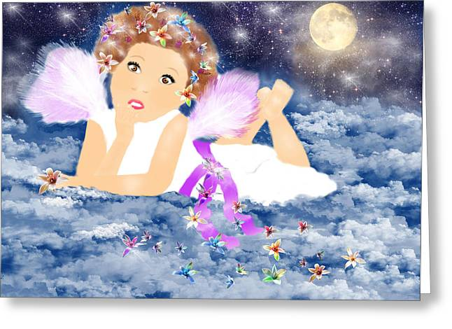 Night Angel Greeting Cards - Angel Dream Greeting Card by Sannel Larson