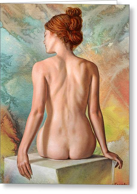 Back View Greeting Cards - Lovely Back-Becca in Abstract Greeting Card by Paul Krapf