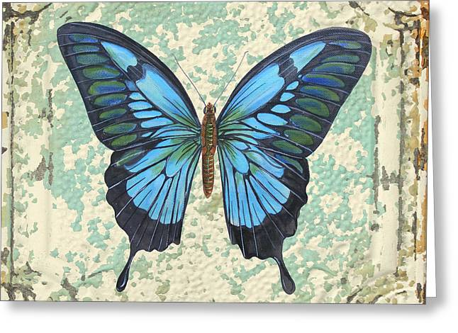 Metal Dragonfly Greeting Cards - Lovely Blue Butterfly on Tin Tile Greeting Card by Jean Plout