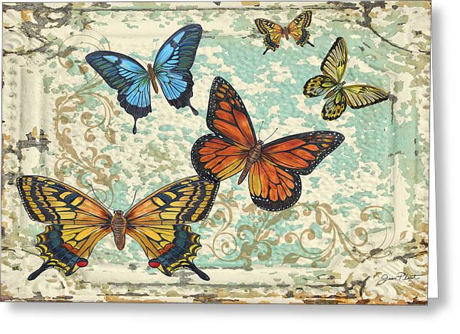 Metal Dragonfly Greeting Cards - Lovely Butterflies on Tin Tile-5 Greeting Card by Jean Plout