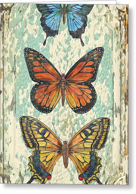 Metal Dragonfly Greeting Cards - Lovely Butterfly Trio on Tin Tile Greeting Card by Jean Plout