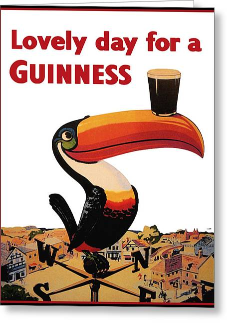 Food And Beverage Greeting Cards - Lovely Day for a Guinness Greeting Card by Nomad Art And  Design