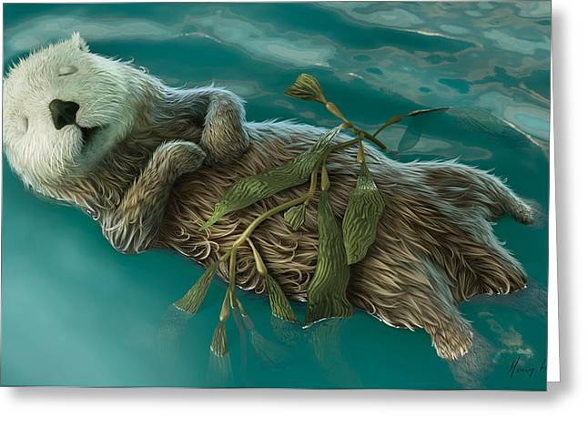 Otter Greeting Cards - Lovely day for a Nap Greeting Card by Gary Hanna
