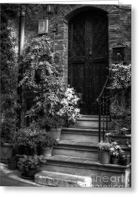 Wooden Stairs Greeting Cards - Lovely Entrance in Black and White Greeting Card by Prints of Italy