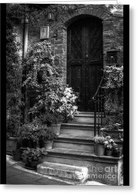 Entryway Greeting Cards - Lovely Entrance in Black and White Greeting Card by Prints of Italy