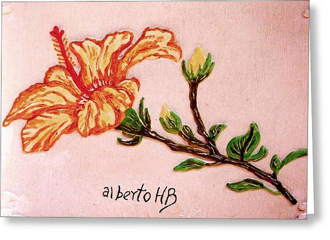 Flower Blooms Reliefs Greeting Cards - Lovely Hibiscus Greeting Card by Alberto H-B