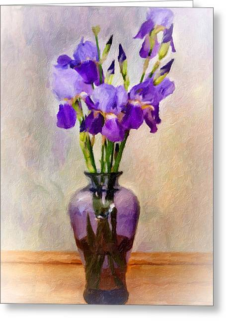 Iris Digital Art Greeting Cards - Lovely Iris Greeting Card by Kathy Jennings