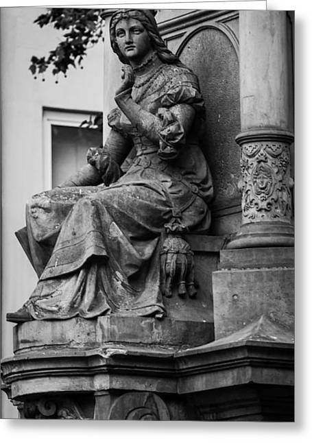 Markt Greeting Cards - Lovely Lady and Lion BW Cologne Greeting Card by Teresa Mucha
