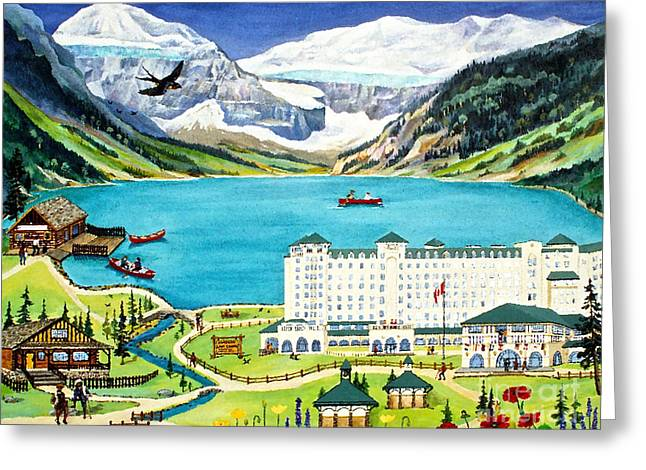 Canmore Artist Greeting Cards - Lovely Lake Louise Greeting Card by Virginia Ann Hemingson