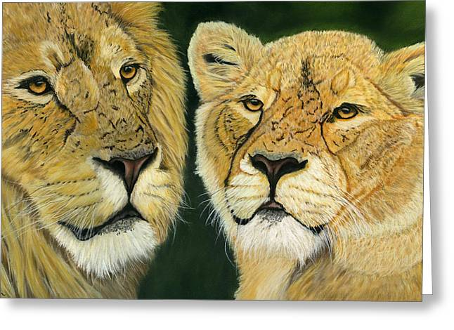 Cat Prints Pastels Greeting Cards - Lovely Lions Greeting Card by Sarah Dowson