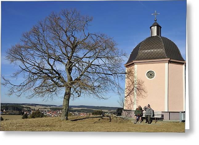 Pensioners Greeting Cards - Lovely little chapel and a tree Greeting Card by Matthias Hauser