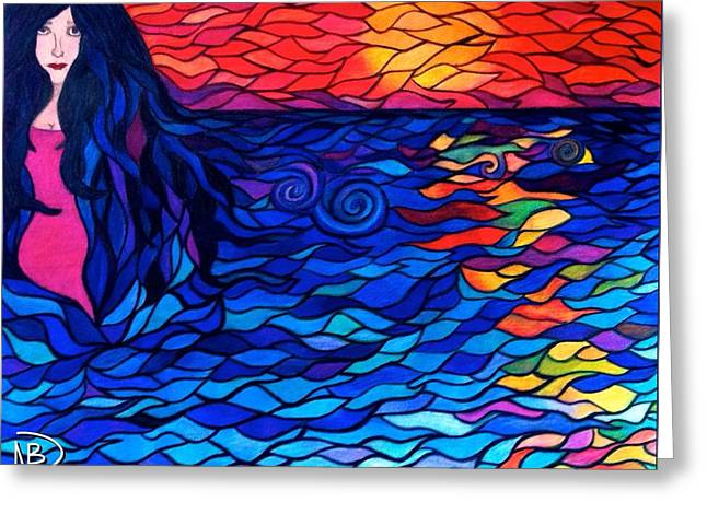 Ocean. Reflection Drawings Greeting Cards - Lovely Lydia Greeting Card by Nicole Dumond-Barry