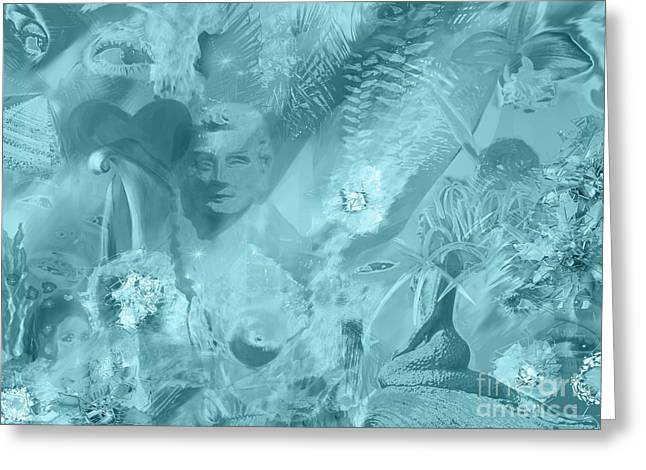 Lovely Digital Art Greeting Cards - Lovely Mayhem - Ice Blu Greeting Card by Michelle Wiarda