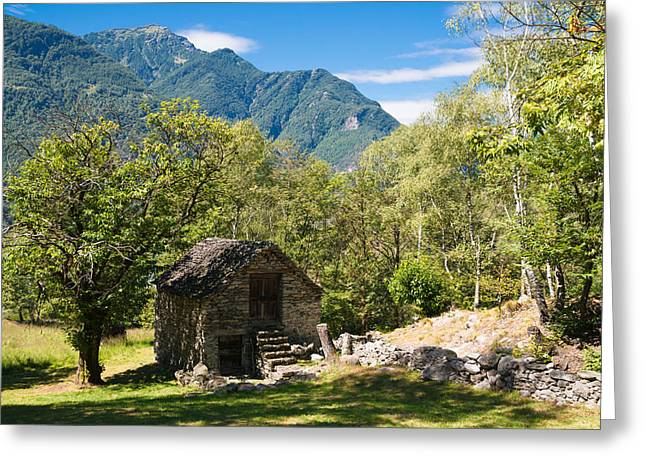 Stone House Photographs Greeting Cards - Lovely old stone house in beautiful landscape Ticino Switzerland Greeting Card by Matthias Hauser