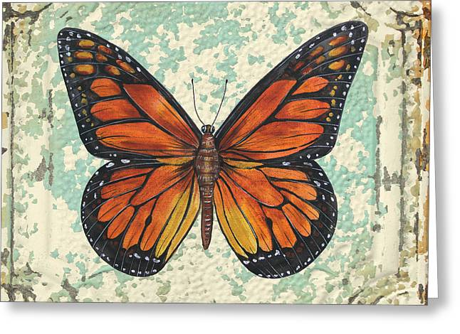 Metal Dragonfly Greeting Cards - Lovely Orange Butterfly on Tin Tile Greeting Card by Jean Plout