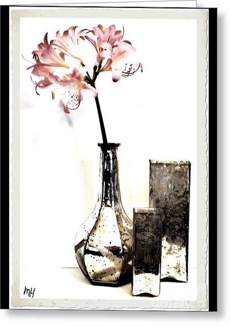 Glass Vase Greeting Cards - Lovely Pink Lilies Greeting Card by Marsha Heiken