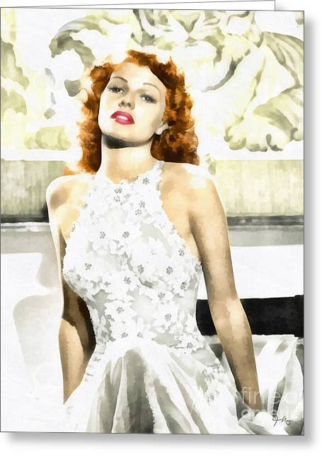 Rita Hayworth Greeting Cards - Lovely Rita Greeting Card by Mo T