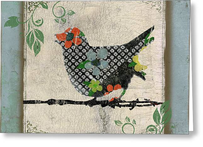 Vine Leaves Greeting Cards - Lovely Song Bird-B Greeting Card by Jean Plout