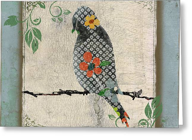 Vine Leaves Greeting Cards - Lovely Song Bird-C Greeting Card by Jean Plout