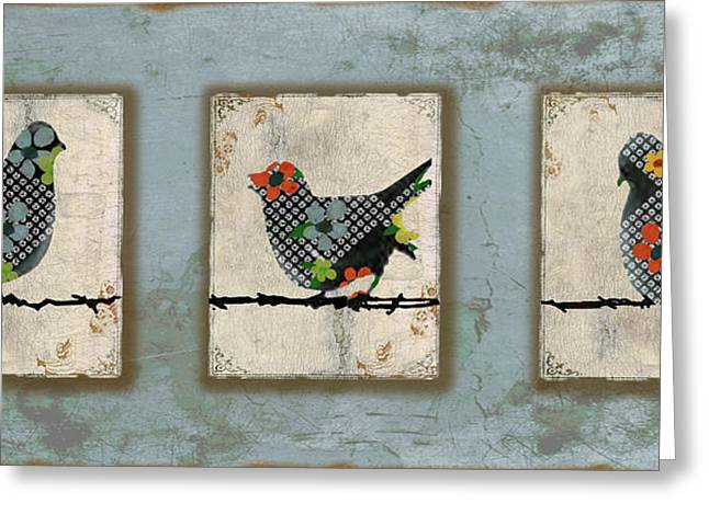 Vine Leaves Greeting Cards - Lovely Song Bird Trio -1 Greeting Card by Jean Plout