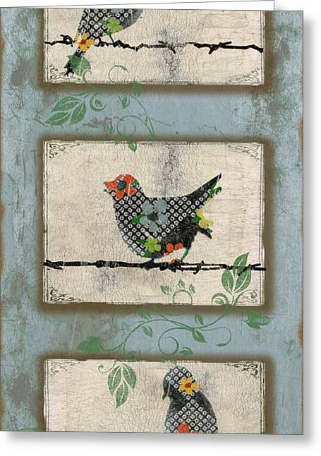 Vine Leaves Greeting Cards - Lovely Song Bird Trio - 2 Greeting Card by Jean Plout
