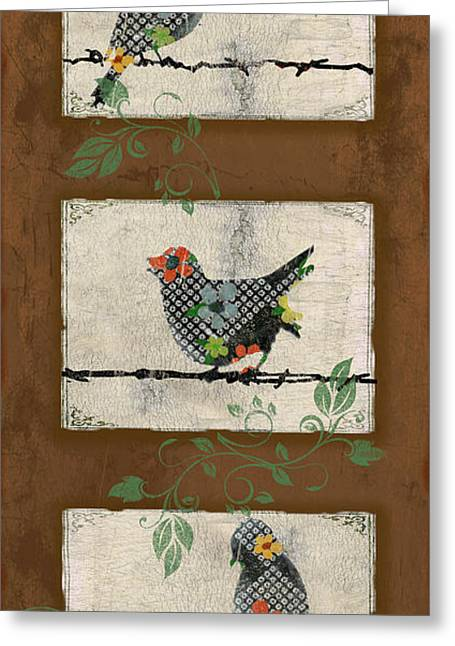 Vine Leaves Greeting Cards - Lovely Song Bird Trio - 3 Greeting Card by Jean Plout