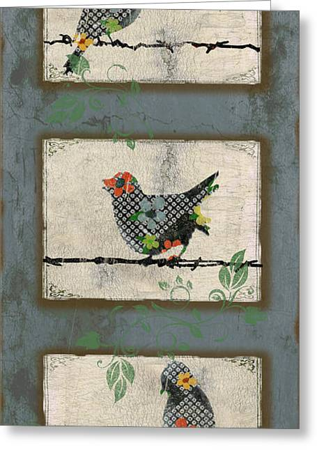 Vine Leaves Greeting Cards - Lovely Song Bird Trio - 4 Greeting Card by Jean Plout