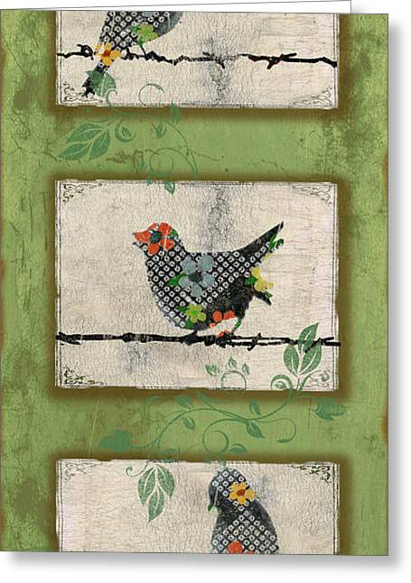 Vine Leaves Greeting Cards - Lovely Song Bird Trio - 5 Greeting Card by Jean Plout