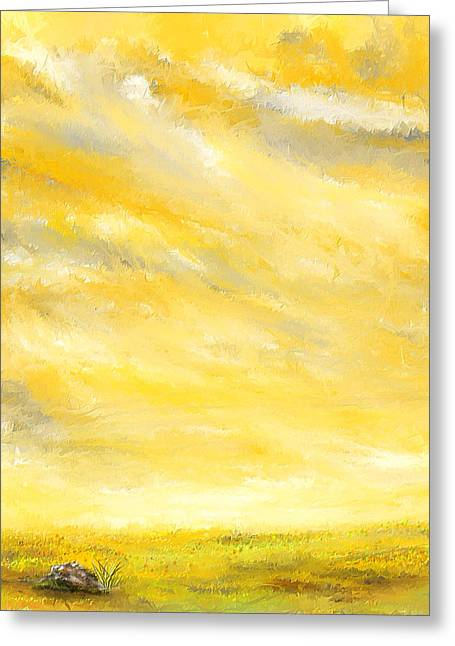 Yellow And Gray Abstract Greeting Cards - Lovely Sunny Day  Greeting Card by Lourry Legarde