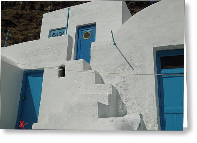 Thirasia Greeting Cards - lovely Thirasia Santorini Hause Greece Greeting Card by Colette V Hera  Guggenheim