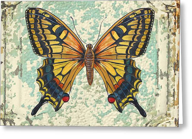Metal Dragonfly Greeting Cards - Lovely Yellow Butterfly on Tin Tile Greeting Card by Jean Plout
