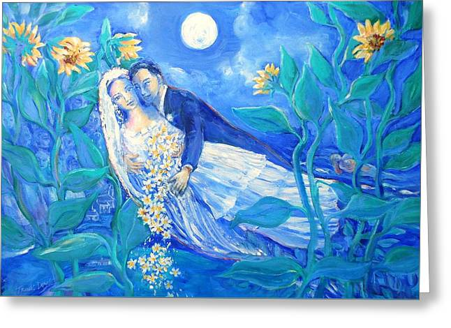 Lovers And Sunflowers  After Marc Chagall  Greeting Card by Trudi Doyle
