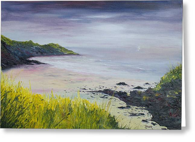 Lovers Art On Print Greeting Cards - Lovers Cove Kinsale   original SOLD Greeting Card by Conor Murphy