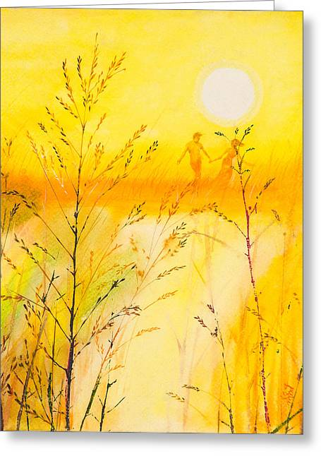 Lovers Of The Sun Greeting Cards - Lovers in summer Greeting Card by Kitipong Bhalatanya