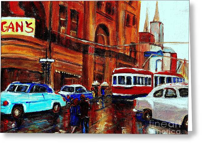 St.catherine Street Greeting Cards - Lovers In The Rain Stroll St Catherine Street Near Morgans Department Store Vintage City Scene Art Greeting Card by Carole Spandau